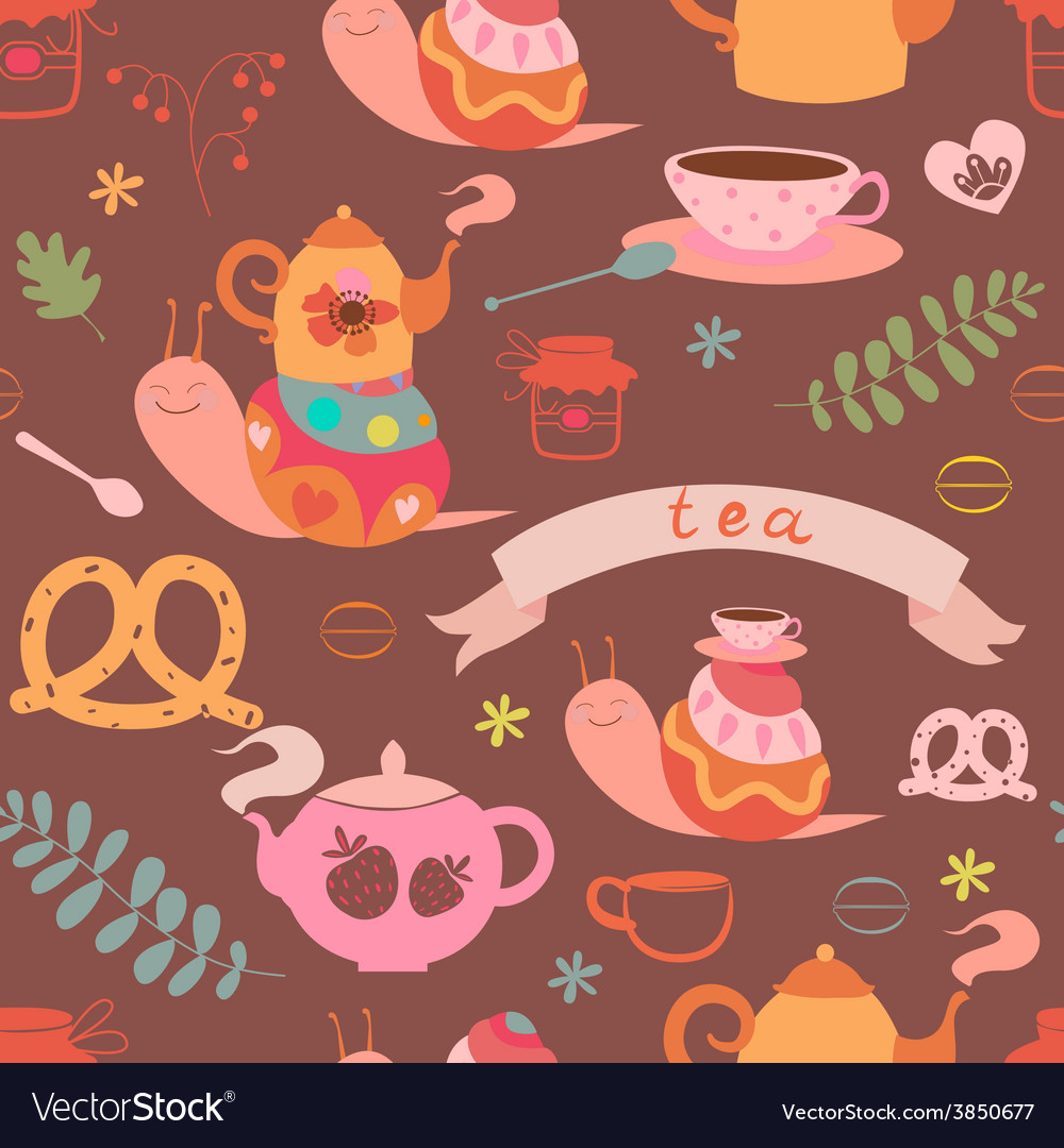 Tea and cute snails seamless pattern vector | Price: 1 Credit (USD $1)