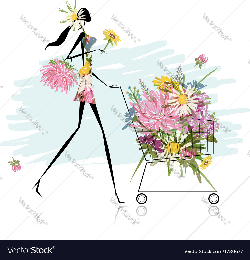 Woman with floral trolley for your design vector | Price: 1 Credit (USD $1)