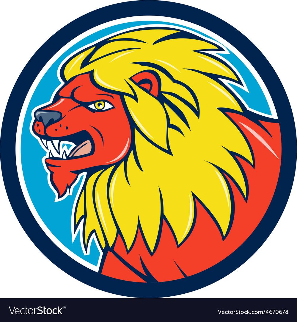 Angry lion head roar circle cartoon vector   Price: 1 Credit (USD $1)