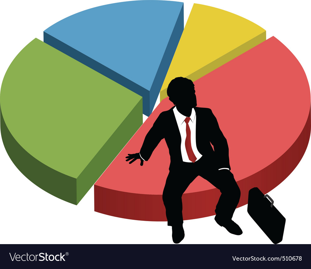 Business silhouette sit market share chart vector | Price: 1 Credit (USD $1)