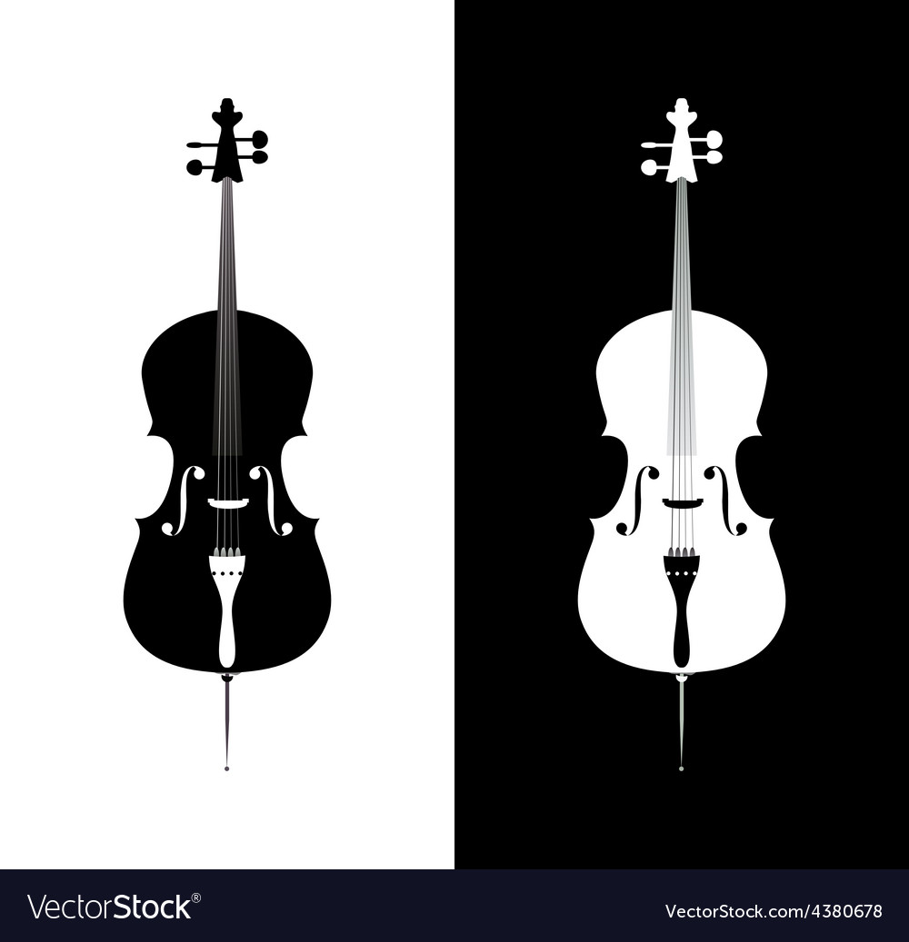 Cello in black and blue colors vector | Price: 1 Credit (USD $1)