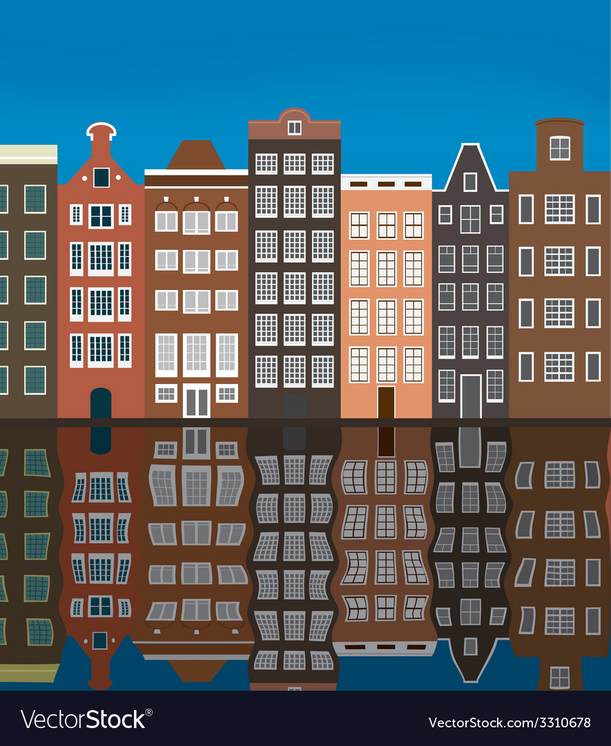 City buildings on the river bank vector | Price: 1 Credit (USD $1)