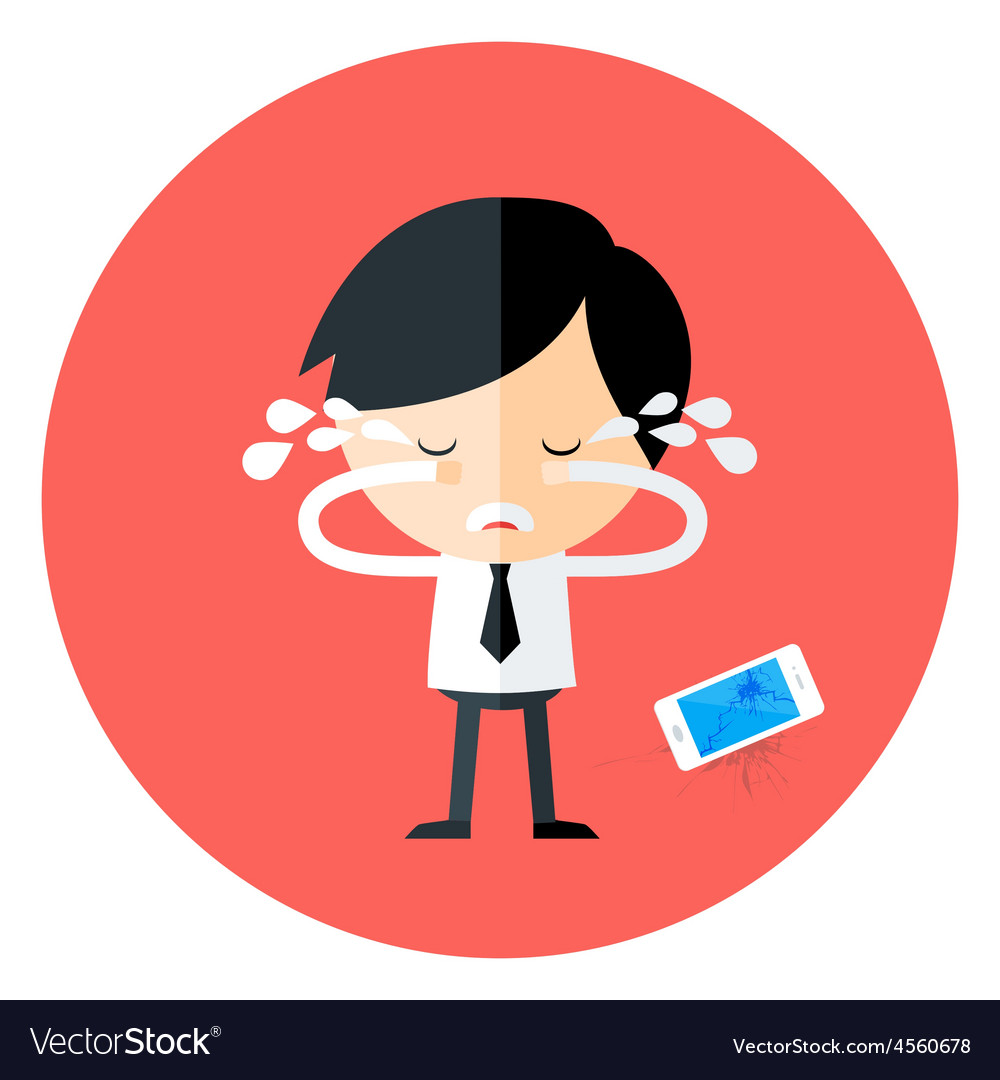 Crying businessman with broken phone circle icon vector | Price: 1 Credit (USD $1)