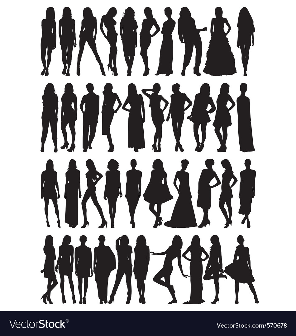 Female model silhouettes vector | Price: 1 Credit (USD $1)