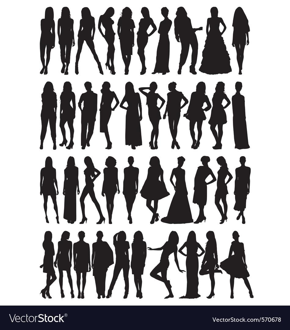 Female model silhouettes vector | Price: 1 Credit (USD $1)