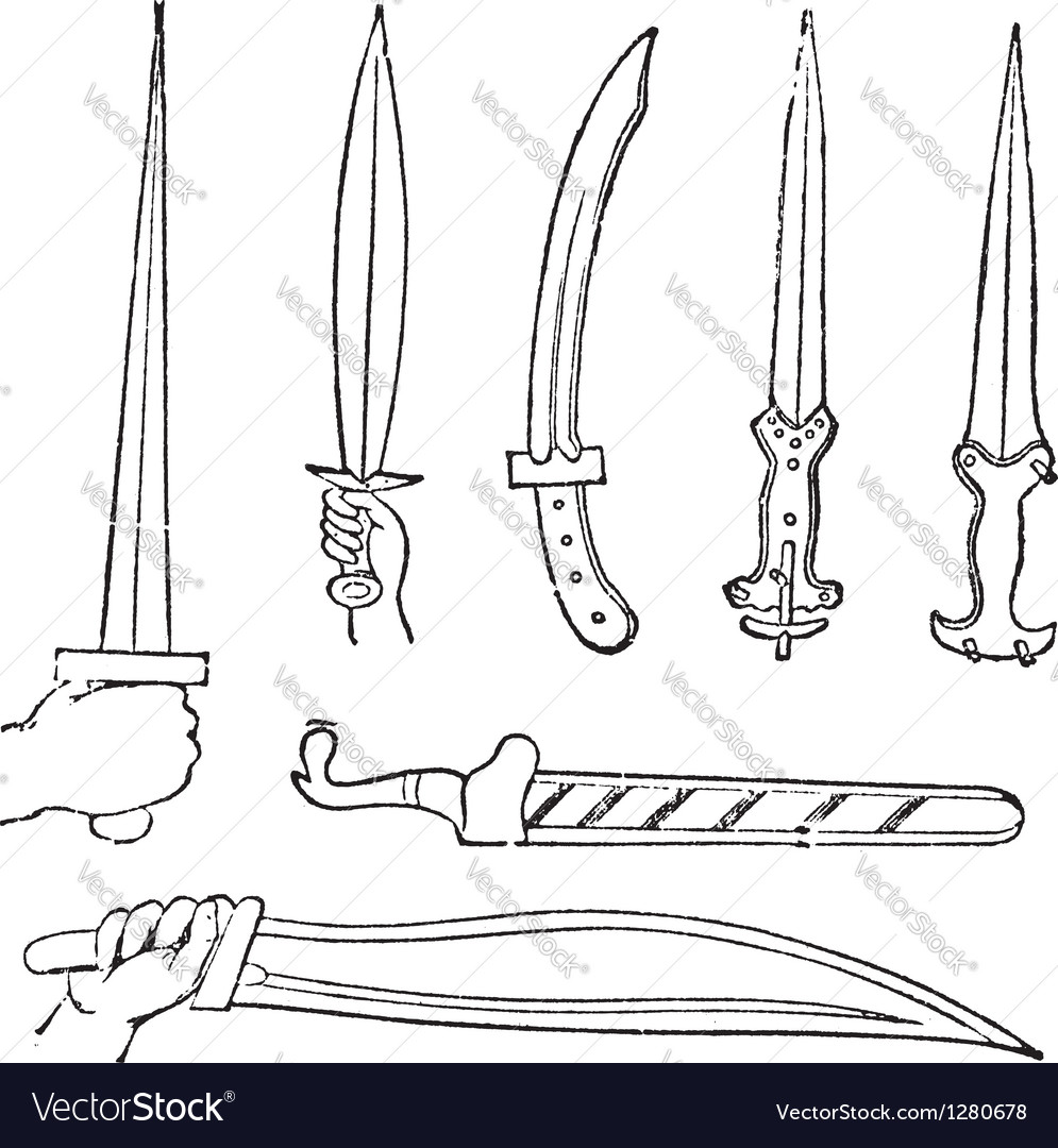 Greek swords vintage engraved vector | Price: 1 Credit (USD $1)