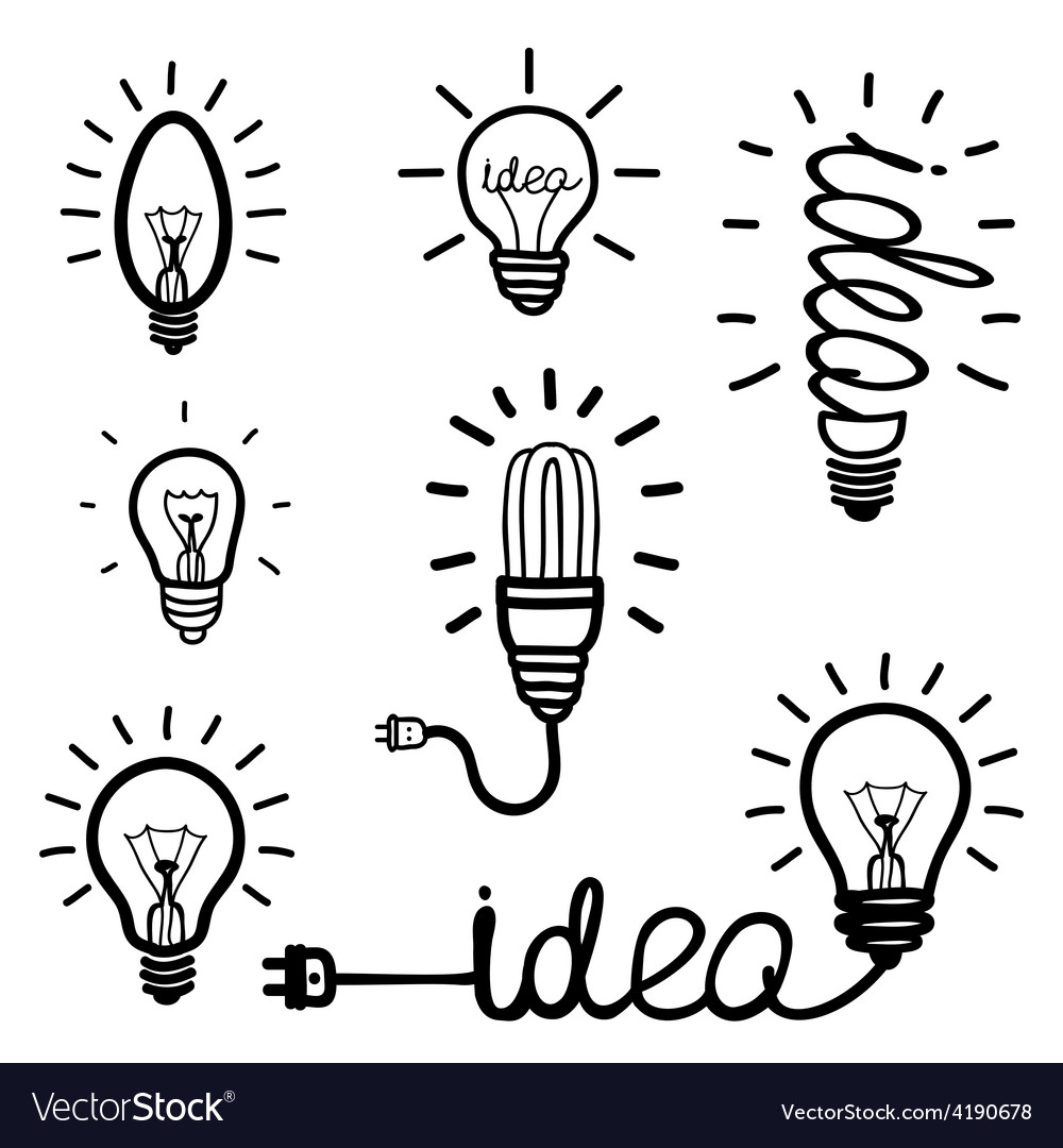 Hand drawn light bulb icons vector | Price: 1 Credit (USD $1)