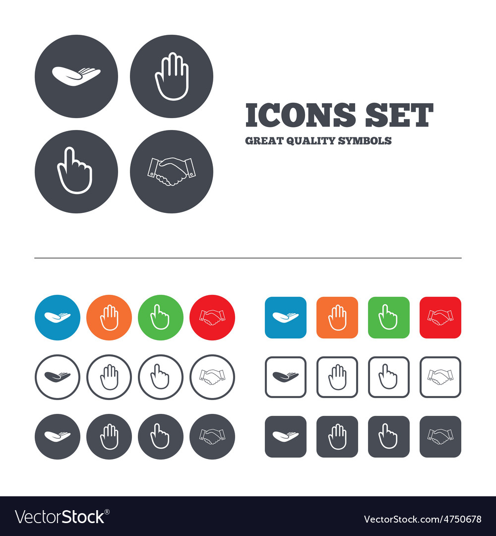 Hand icons handshake and click here symbols vector | Price: 1 Credit (USD $1)