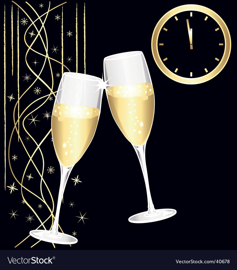 Midnight toast of champagne vector | Price: 1 Credit (USD $1)