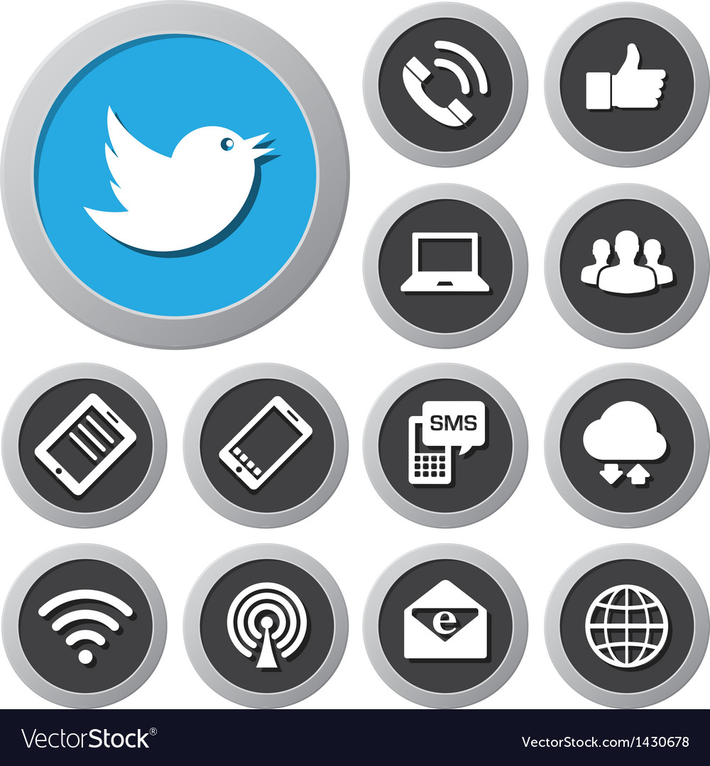 Mobile devices and network icons set vector | Price: 1 Credit (USD $1)