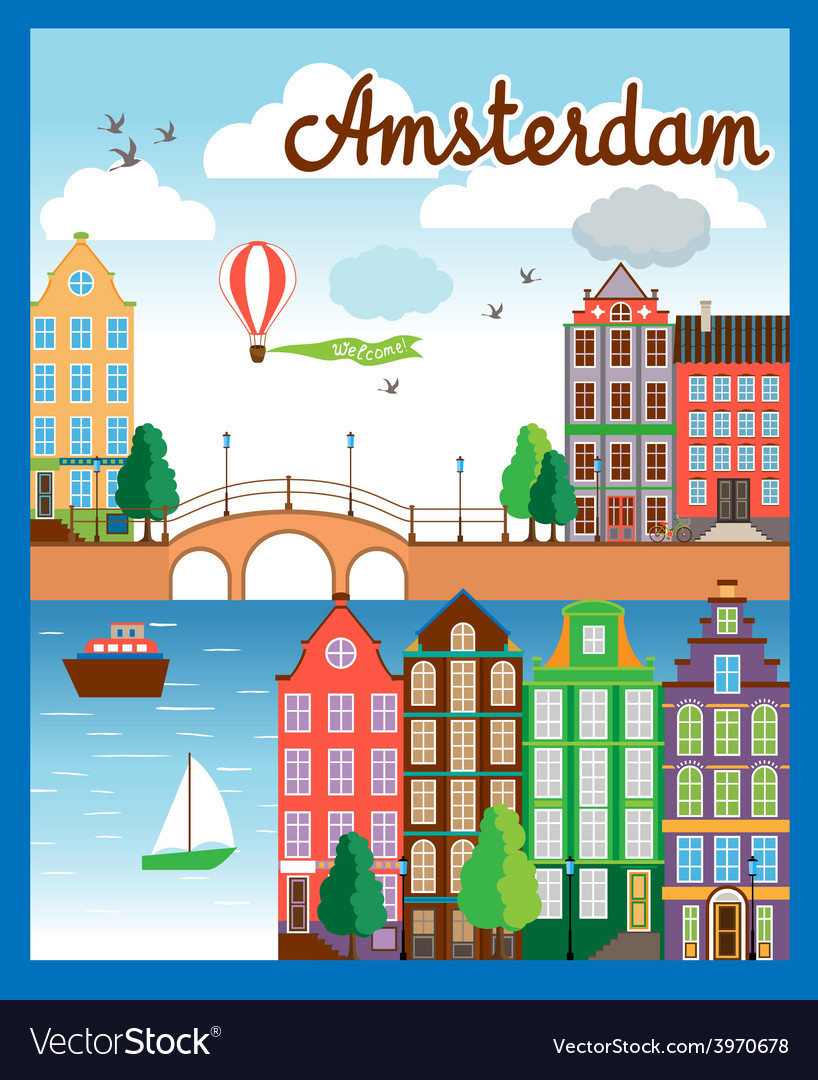 Nice amsterdam city background vector | Price: 1 Credit (USD $1)