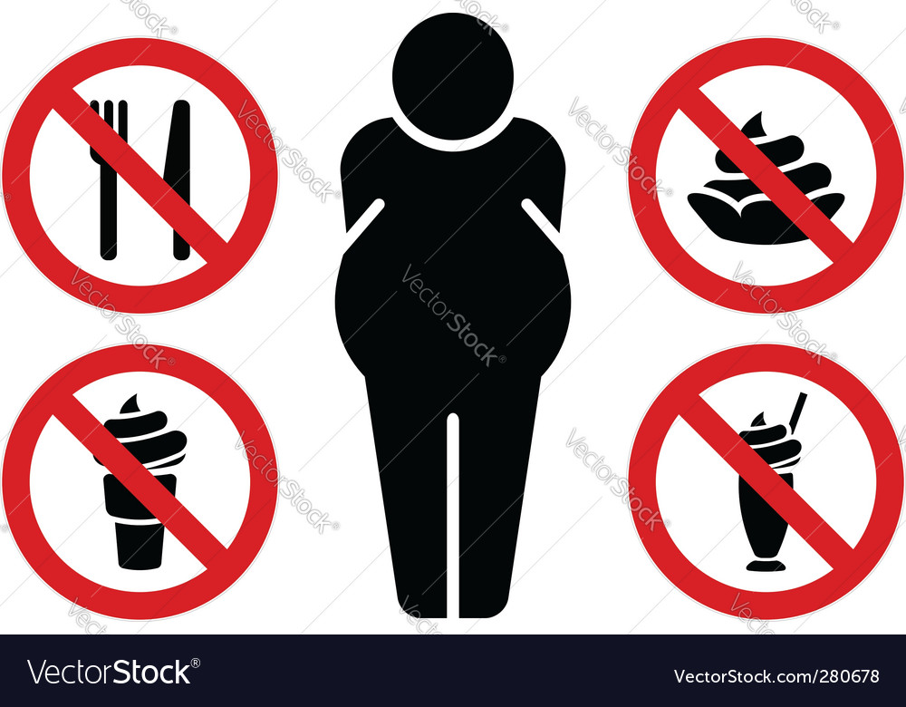 No fat eating signs vector | Price: 1 Credit (USD $1)