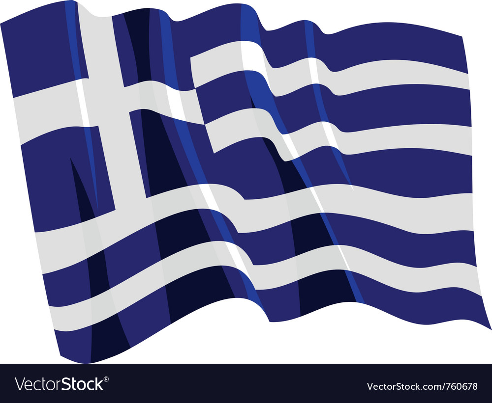 Political waving flag of greece vector | Price: 1 Credit (USD $1)