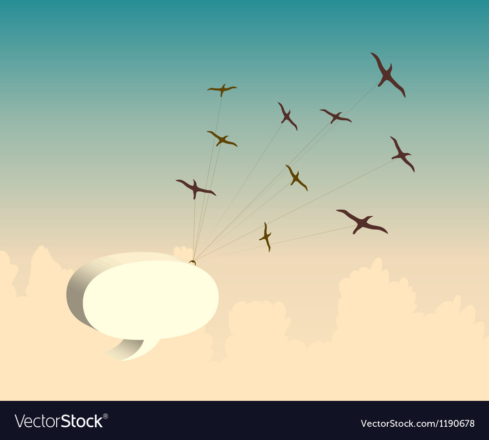 Retro background with bird and speech bubble vector | Price: 1 Credit (USD $1)