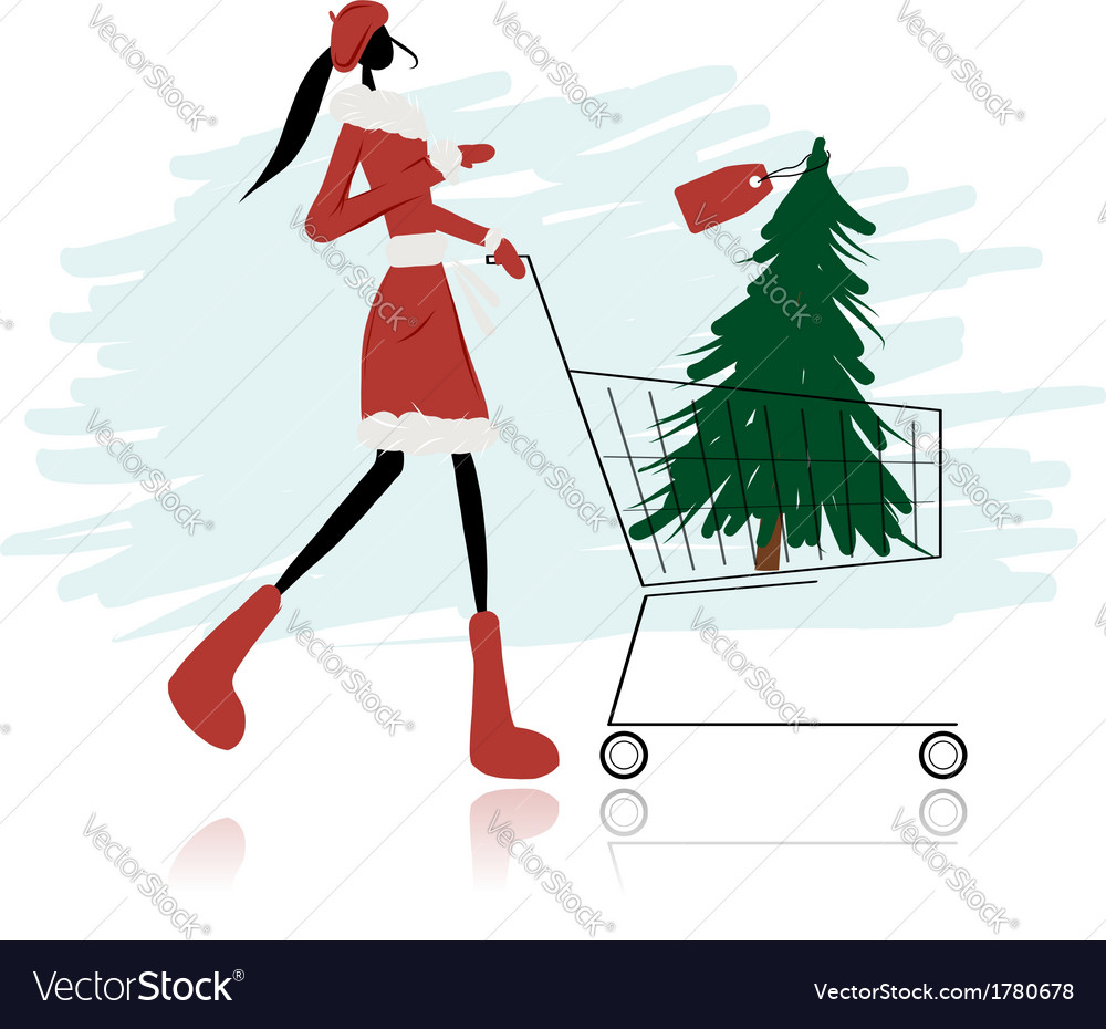 Santa girl with christmas tree in trolley vector | Price: 1 Credit (USD $1)