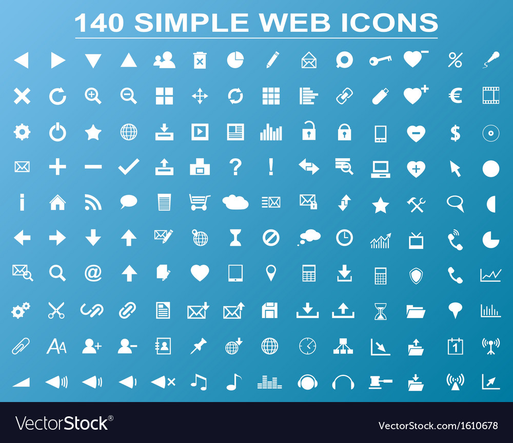 Set of 140 simple white navigation web icons vector | Price: 1 Credit (USD $1)