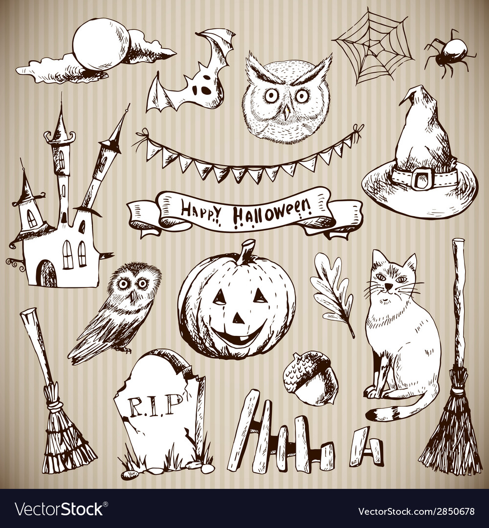 Set of doodles design halloween elements vector | Price: 1 Credit (USD $1)