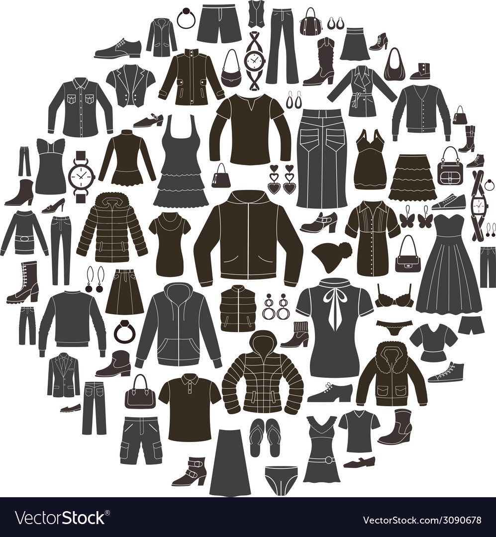 Set of women s and mens clothing icons vector | Price: 1 Credit (USD $1)