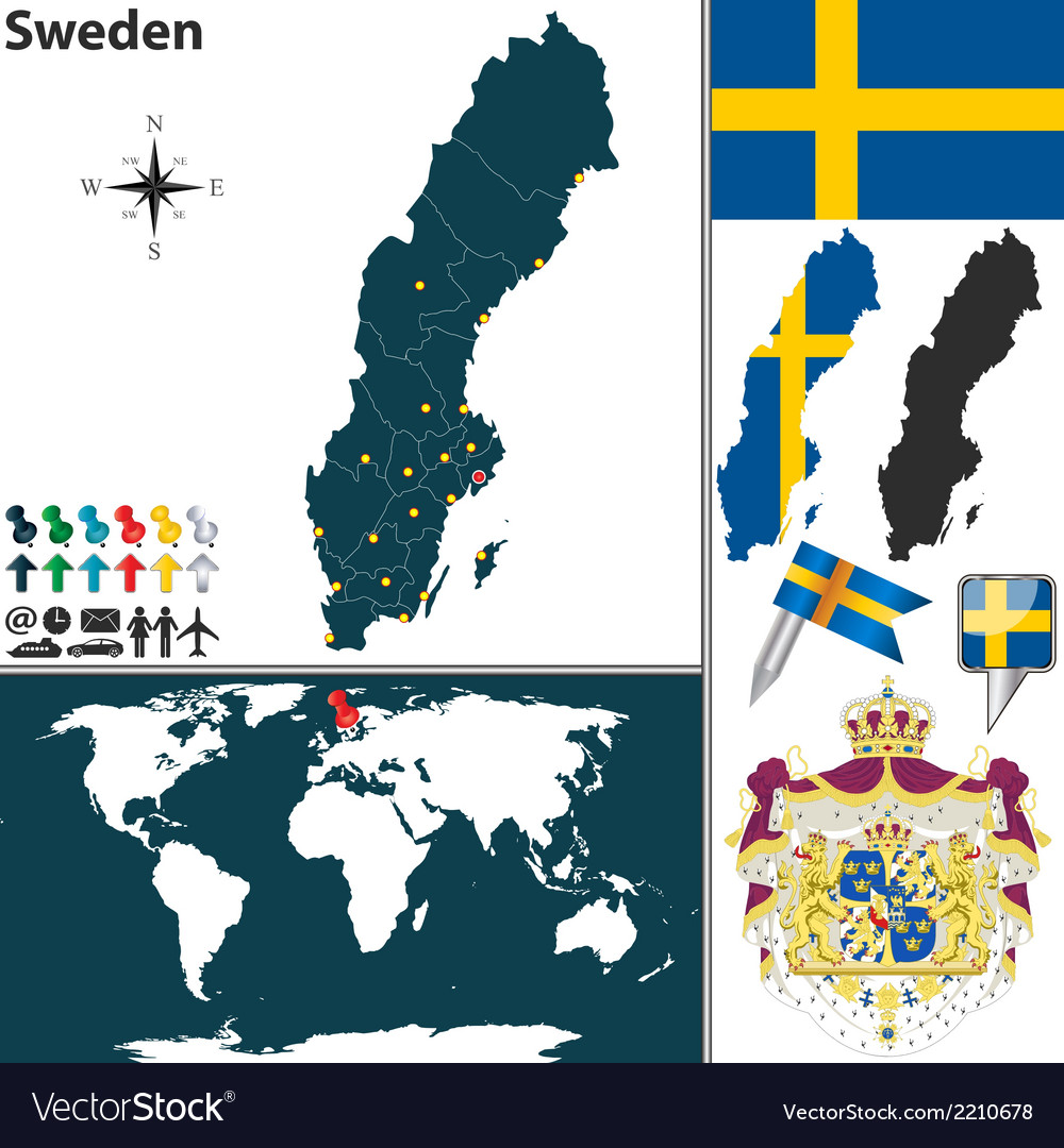 Sweden map vector | Price: 1 Credit (USD $1)