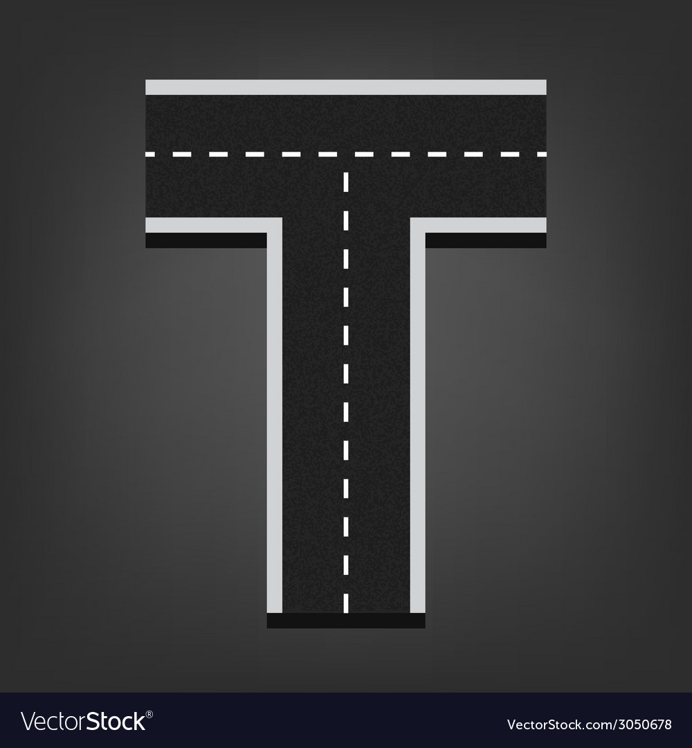 T letter road font vector | Price: 1 Credit (USD $1)