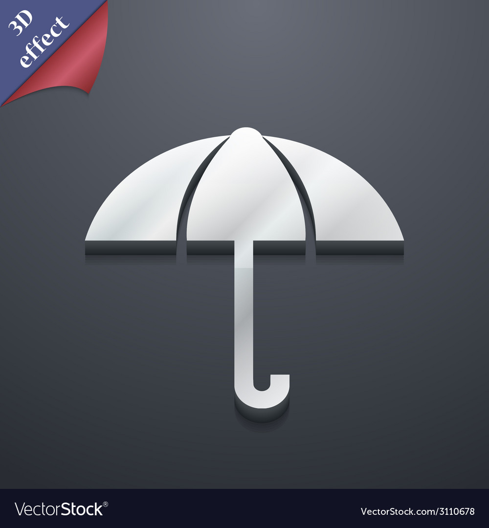 Umbrella icon symbol 3d style trendy modern design vector | Price: 1 Credit (USD $1)