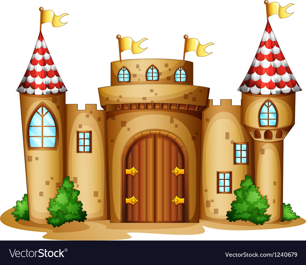 A castle with four banners vector | Price: 1 Credit (USD $1)