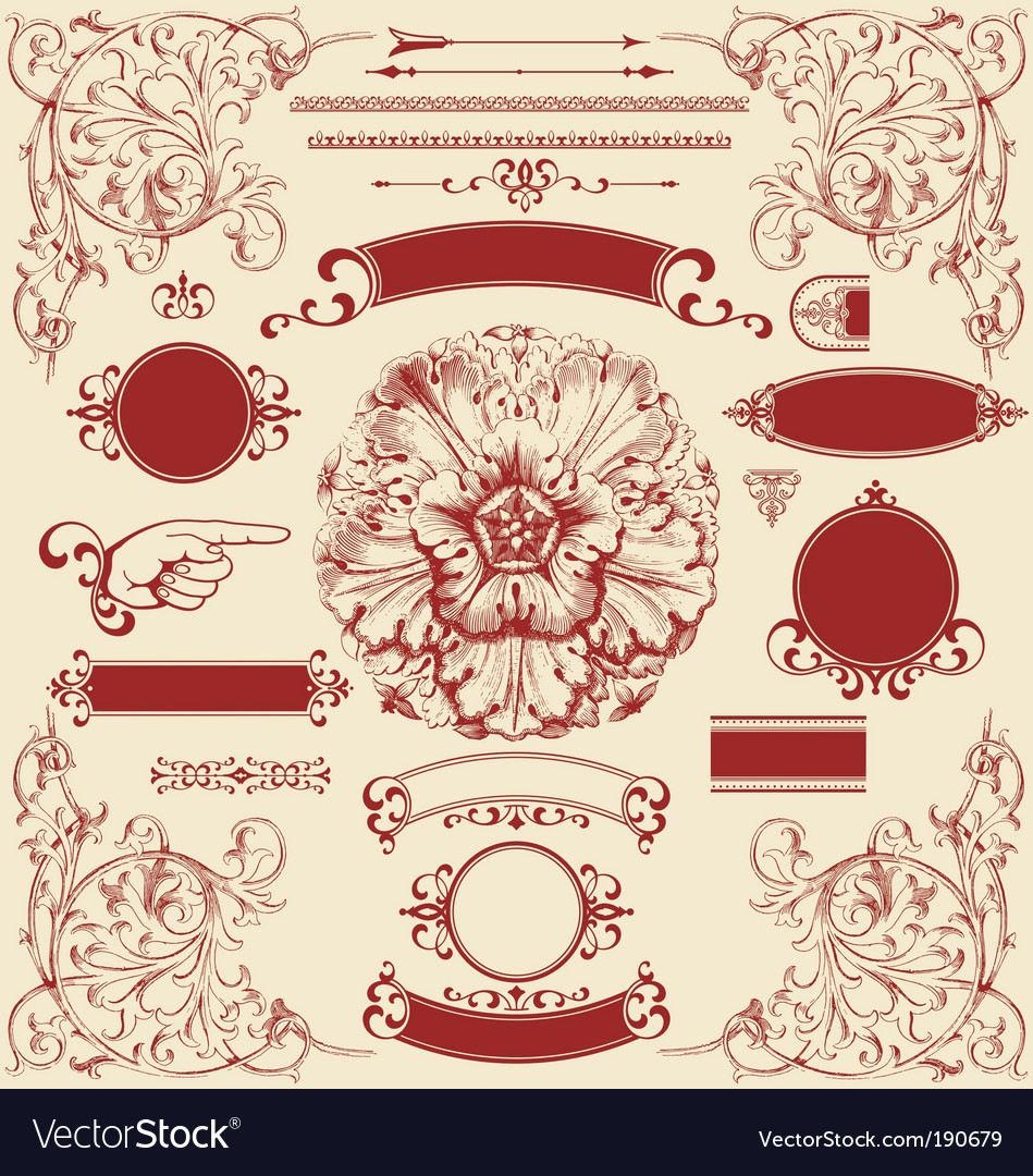 Antique design elements vector | Price: 1 Credit (USD $1)