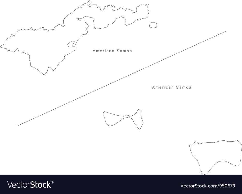 Black white american samoa outline map vector | Price: 1 Credit (USD $1)