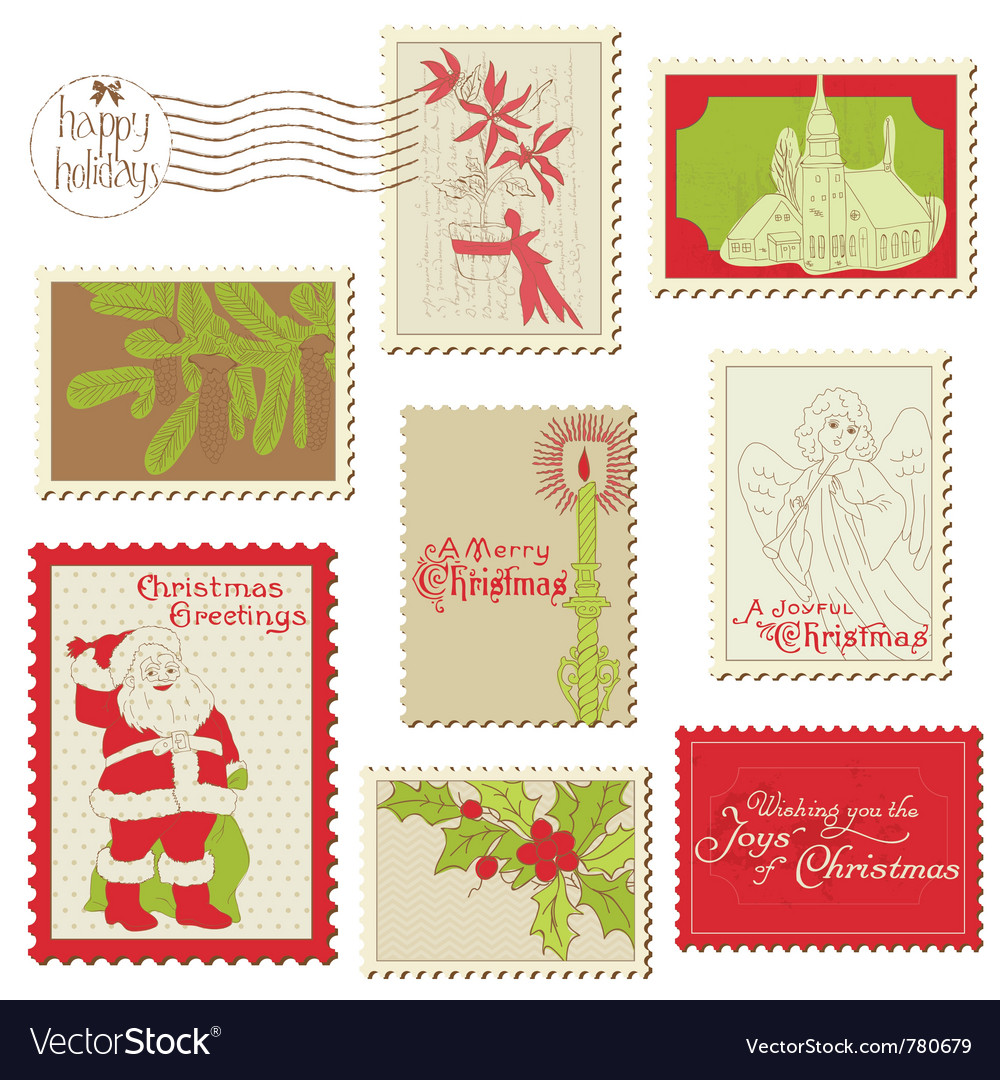 Christmas vintage stamp collection vector | Price: 1 Credit (USD $1)