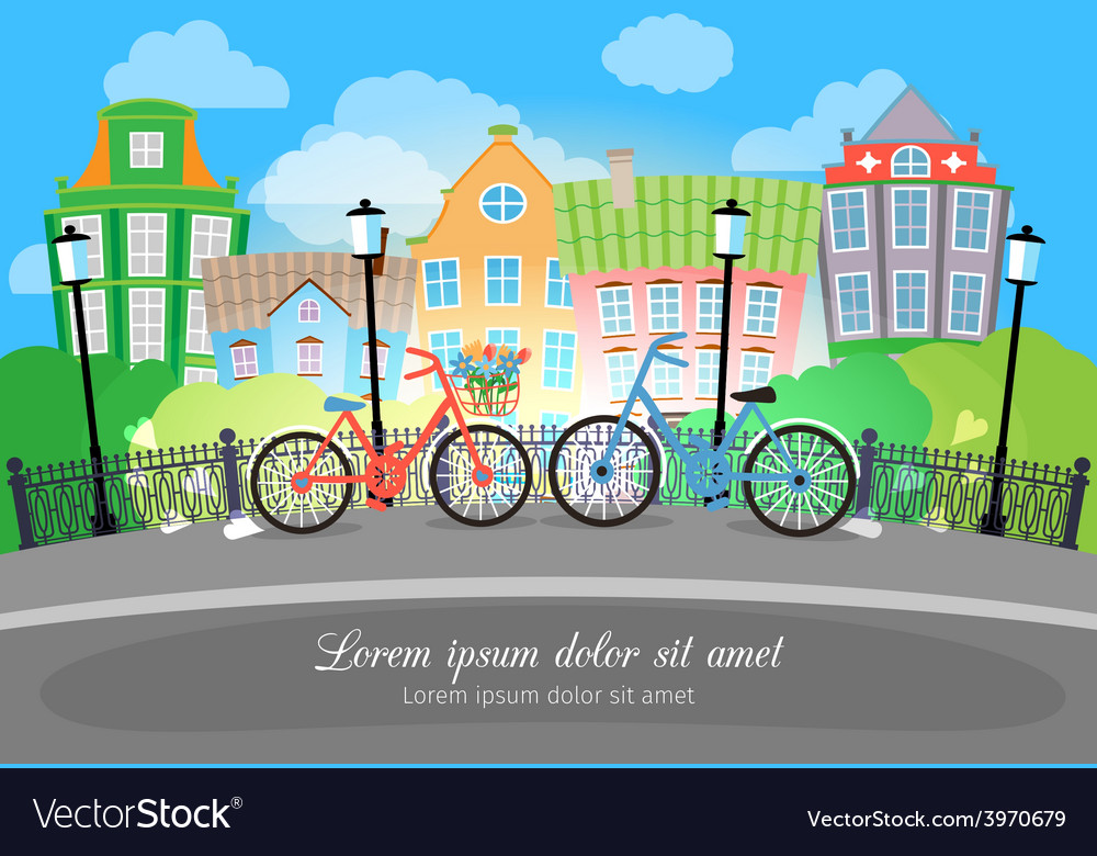 City bridge street with bikes and lights vector | Price: 1 Credit (USD $1)