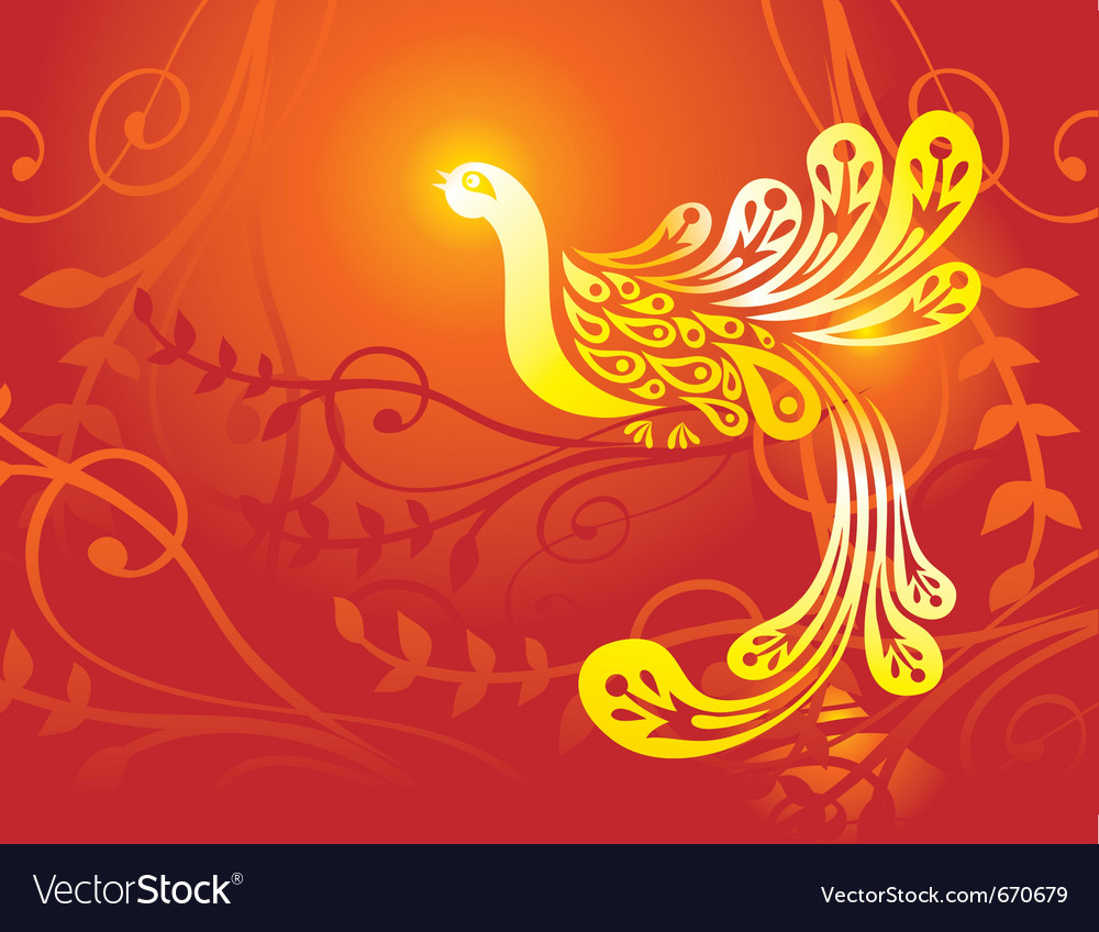 Fantasy golden bird - vector | Price: 1 Credit (USD $1)