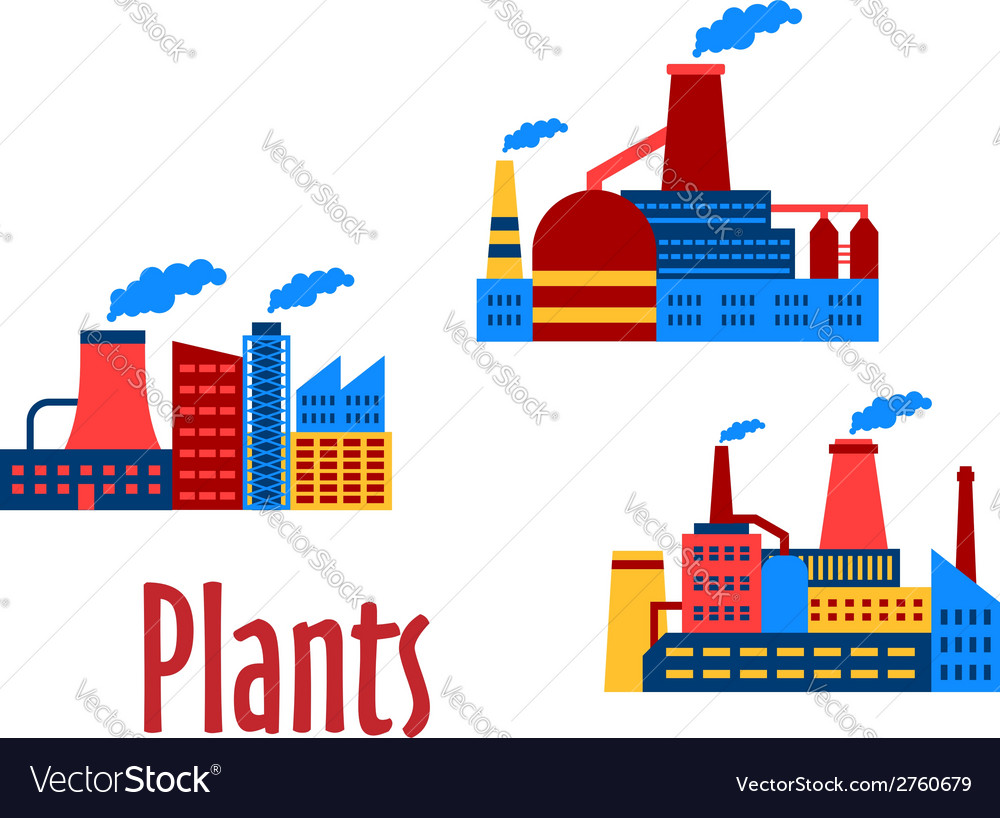 Flat factories and plants icons vector | Price: 1 Credit (USD $1)