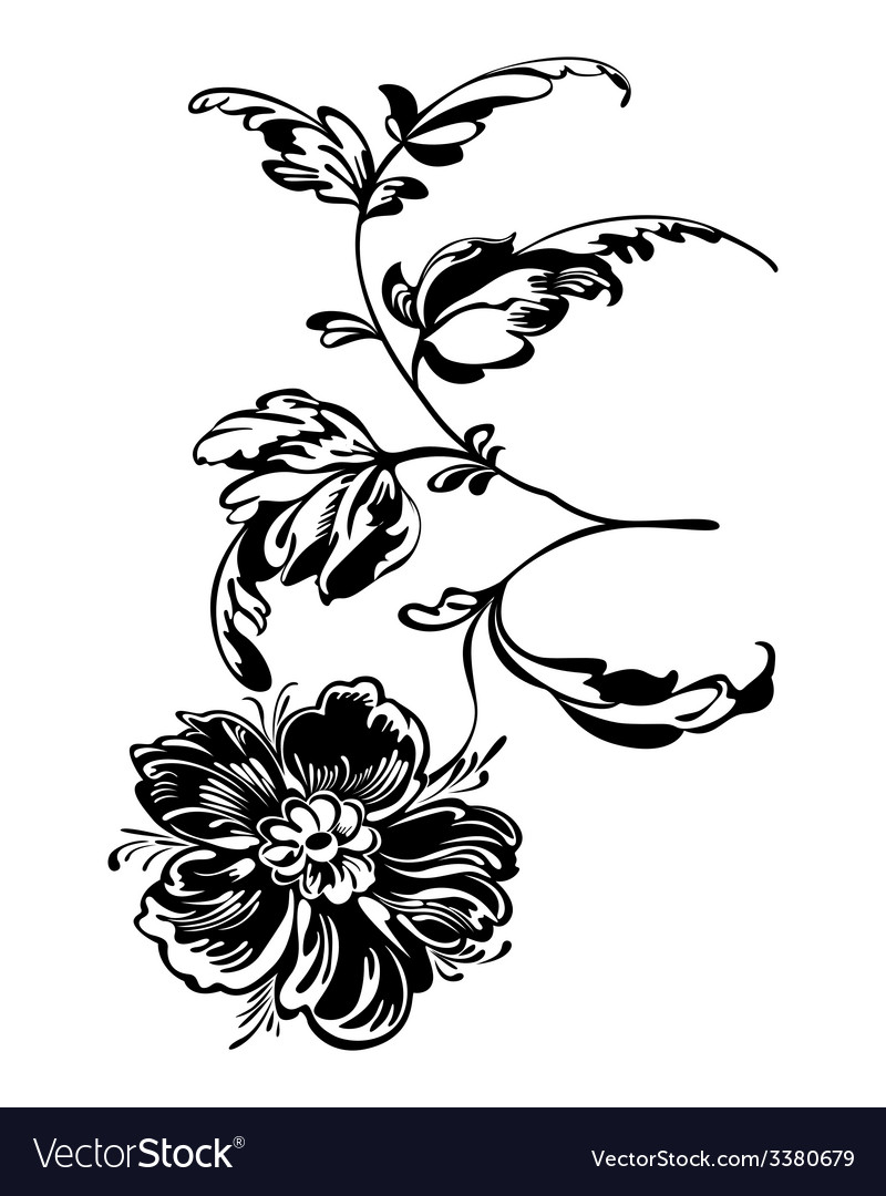 Flower black white vector | Price: 1 Credit (USD $1)