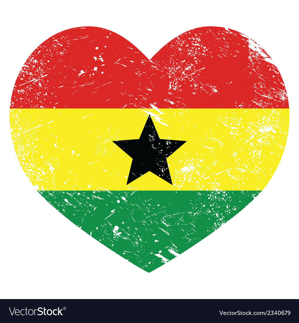 Ghana retro heart shaped flag vector | Price: 1 Credit (USD $1)