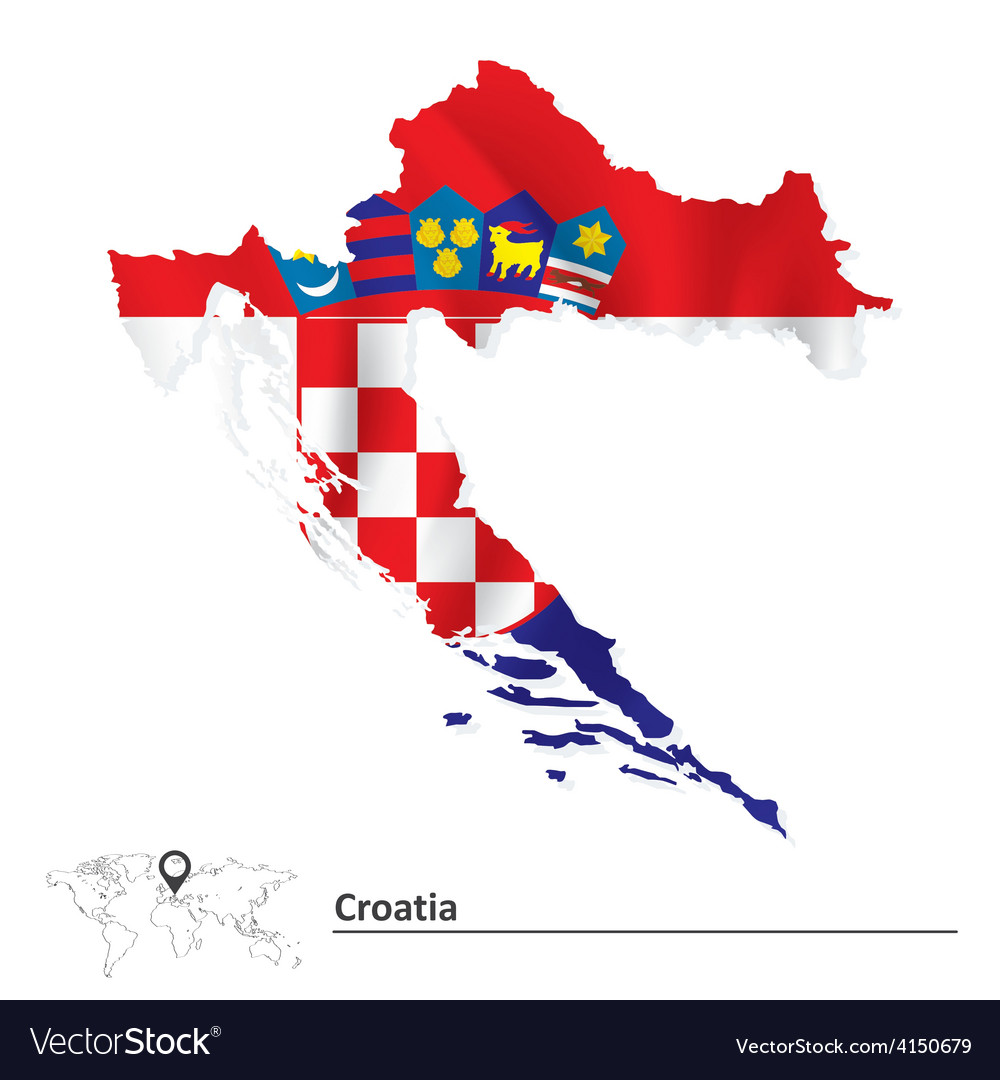 Map of croatia with flag vector | Price: 1 Credit (USD $1)