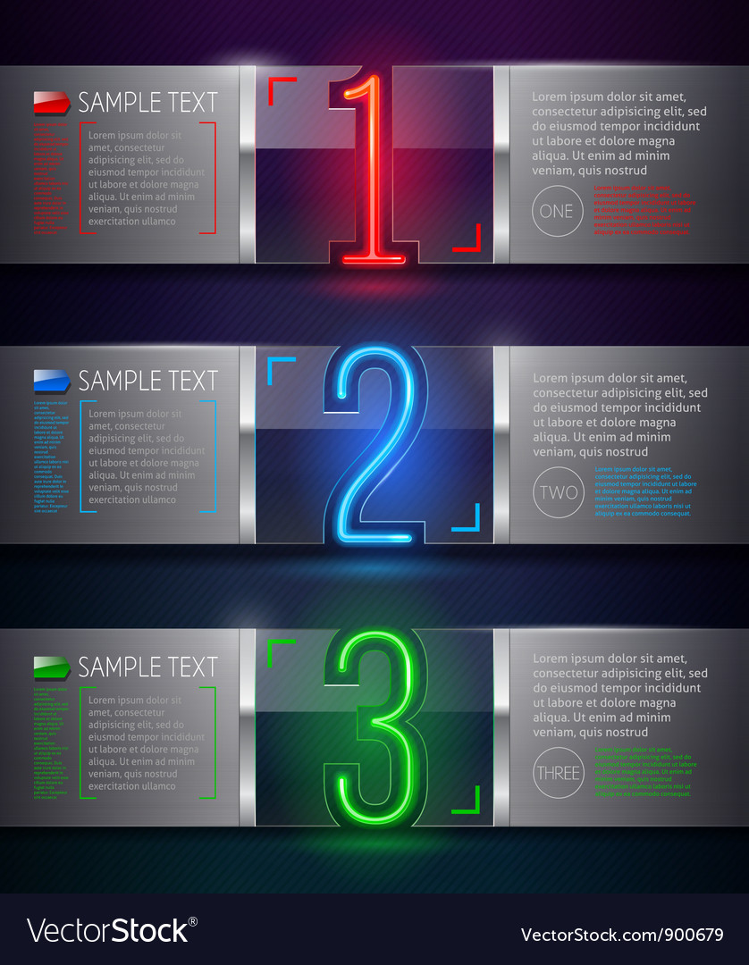 Metal and glass banners with neon luminous numbers vector