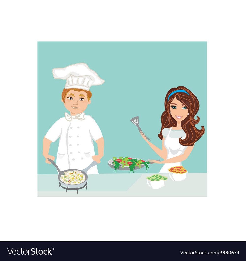 Pair of chefs prepares delicious dishes vector | Price: 1 Credit (USD $1)