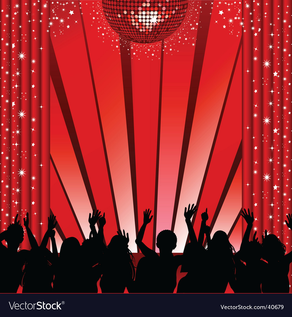 Red disco stage and crowd vector | Price: 1 Credit (USD $1)