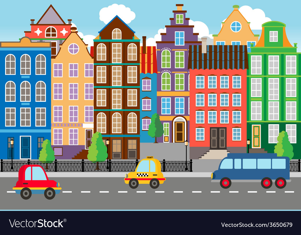 Seamless cartooned city life graphic vector | Price: 1 Credit (USD $1)