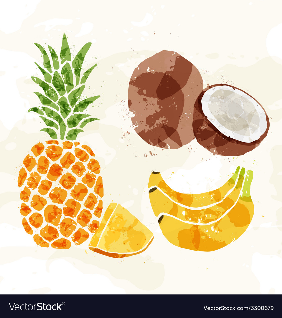 Set of colorful fresh fruit stains vector | Price: 1 Credit (USD $1)