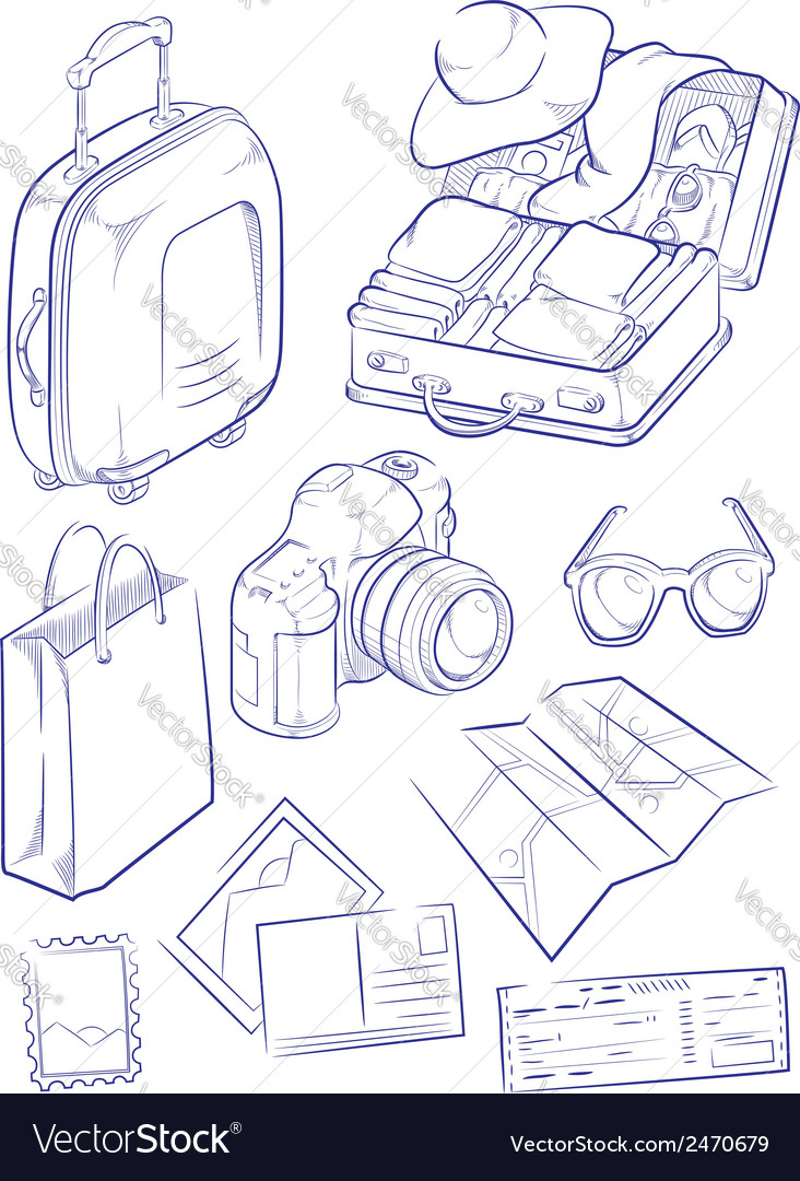 Sketch of travel object symbol vector | Price: 1 Credit (USD $1)