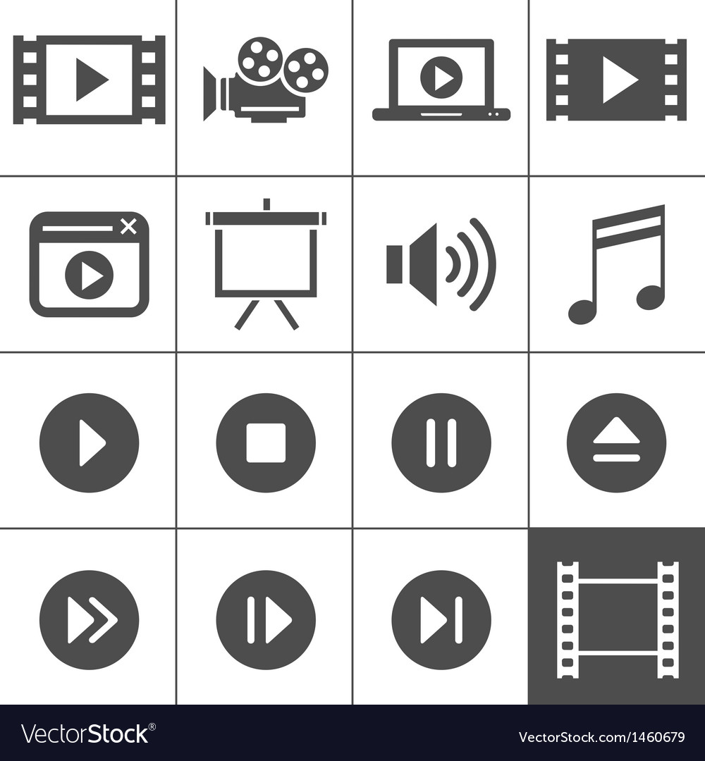 Video icon set vector | Price: 1 Credit (USD $1)