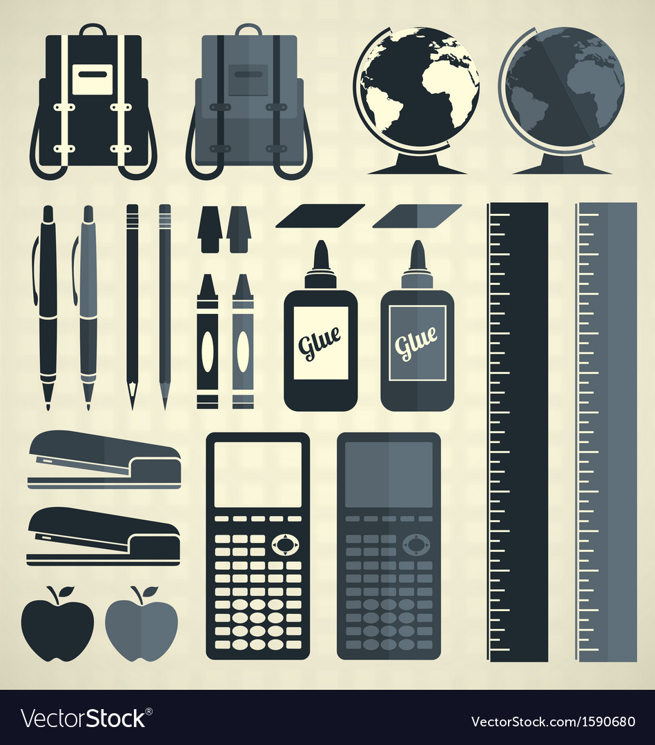 Back to school silhouette and icons vector | Price: 1 Credit (USD $1)
