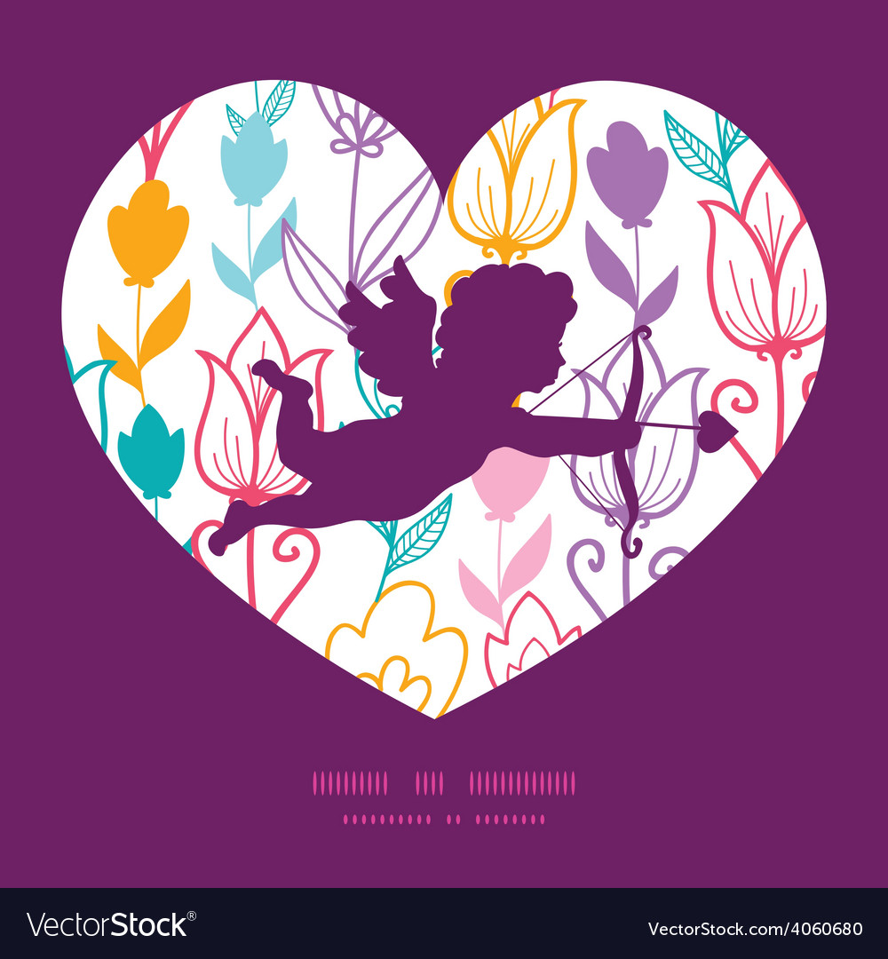 Colorful tulip flowers shooting cupid vector | Price: 1 Credit (USD $1)