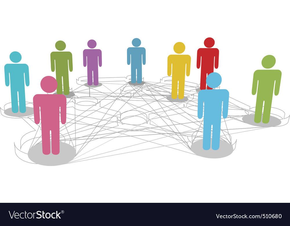Connect people business social network line connec vector | Price: 1 Credit (USD $1)