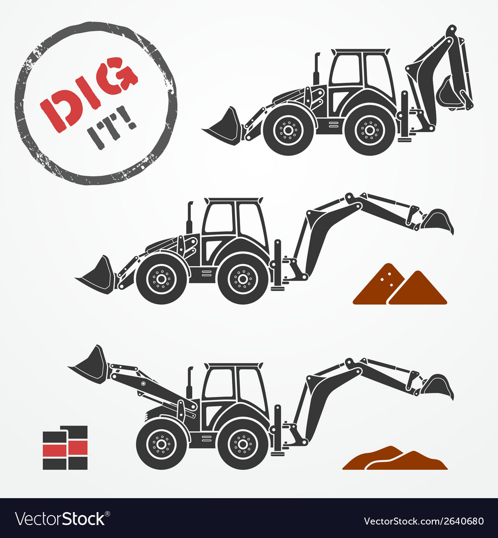 Excavator silhouettes vector | Price: 1 Credit (USD $1)
