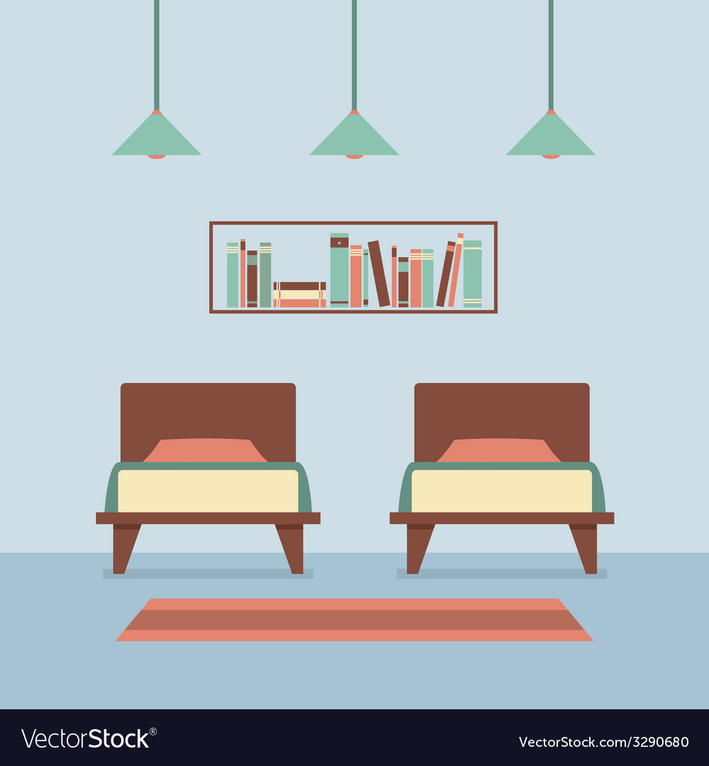 Flat design twin beds interior vector | Price: 1 Credit (USD $1)