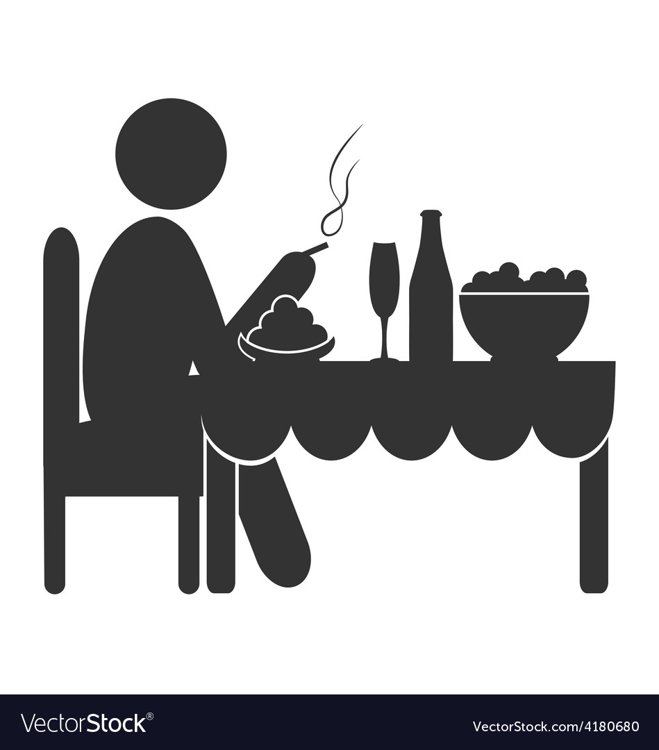 Flat dinner icon with cigarette isolated on white vector | Price: 1 Credit (USD $1)