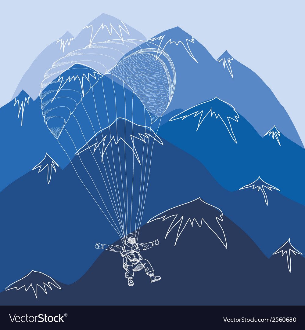 Flying sportsmen paragliding in mountains vector | Price: 1 Credit (USD $1)