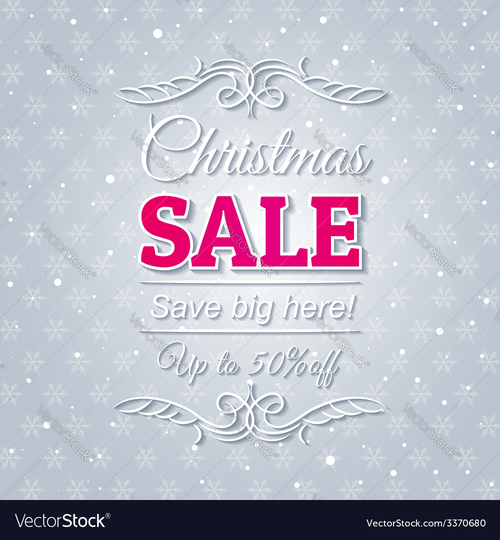 Grey christmas background and sale offer vector   Price: 1 Credit (USD $1)
